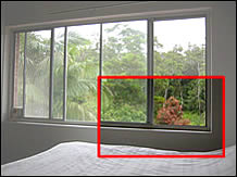 You can see from the height of the bed that this second storey windowsill is a safety risk.